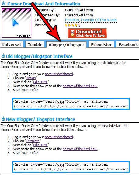 How to add cursors on Blogger or Blogspot